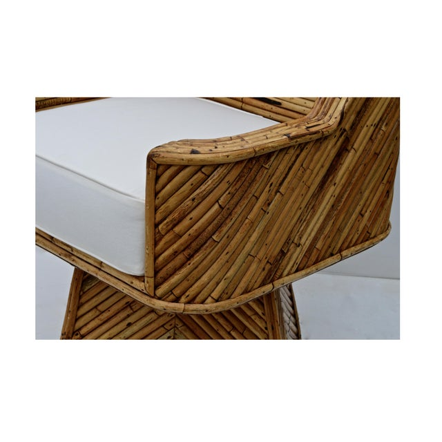 Rare Bamboo Swivel Chairs in the Manner of Crespi For Sale - Image 6 of 11