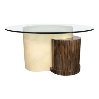 Mid-Century Modernist Lacquered Goatskin, Glass and Macassar Dining Table For Sale