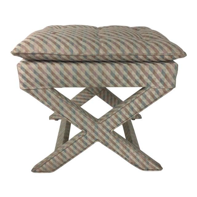 1970s Vintage Upholstered X Stool For Sale