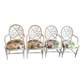 Vintage McGuire Asian Cushion Cracked Ice Rattan Chairs - Set of 4