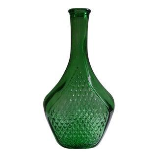 Vintage 1930s Italian Large Green Glass Bottle For Sale