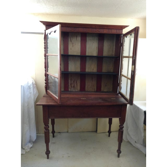 This 1930's Harvest Table and Top Cabinet is made from Rosewood and Ebony Wood. Made from tropical hardwoods it is all...