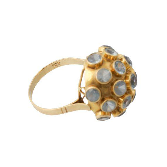 Mid-Century Modern H. Stern Style 18k Gold Aquamarine Sputnik Ring For Sale - Image 3 of 4