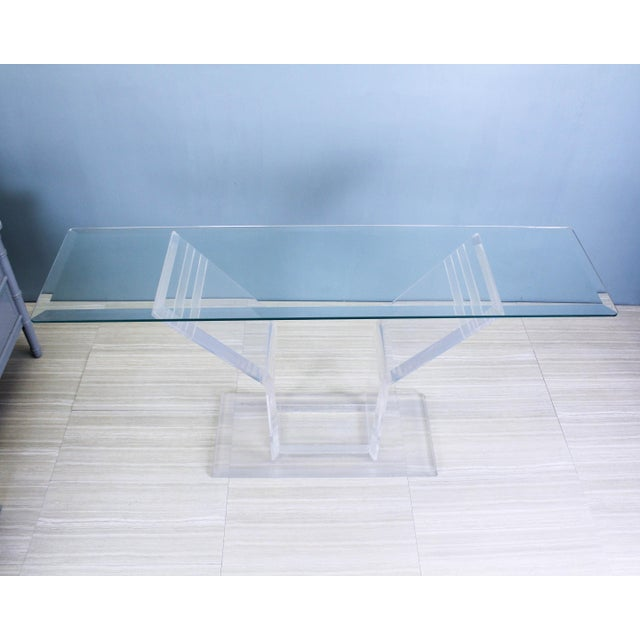 1970s 1970s Lucite Pedestal Console For Sale - Image 5 of 11