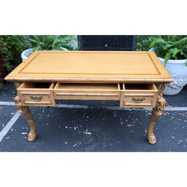 Asian Charles Pollock for William Switzer Chinese Chippendale Writing Table Desk For Sale - Image 3 of 5