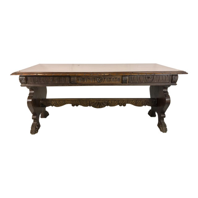 1920's Carved Walnut Library Table / Desk - Image 1 of 7