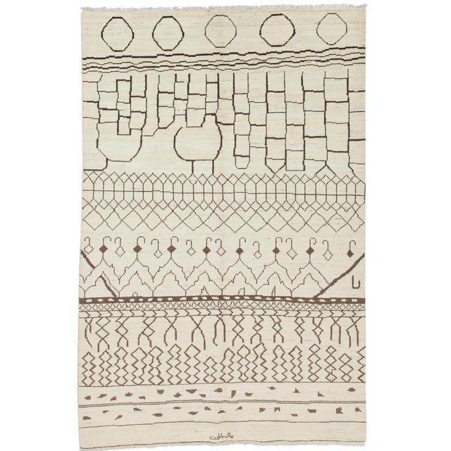 """Moroccan, Hand Knotted Area Rug - 6'4"""" X 9'6"""" For Sale"""