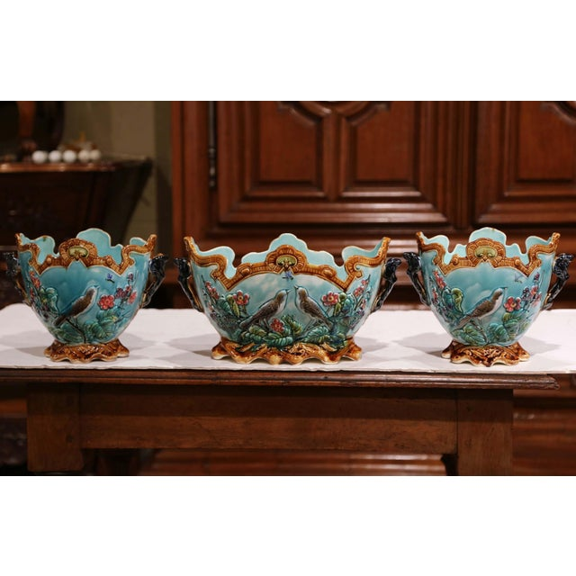 Decorate a mantel or a console with this colorful set of Majolica oval planters. Crafted in France, circa 1870, the set is...