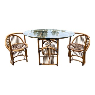 Mid Century Bamboo Dining Set - 3 Pieces For Sale