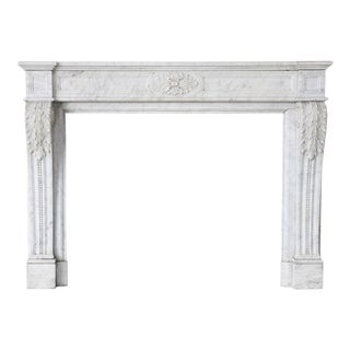 Antique Carrara Marble Fireplace, Louis Xvi, 19th Century For Sale