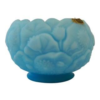 Fenton Turquoise Blue Milk Glass Bowl Vintage