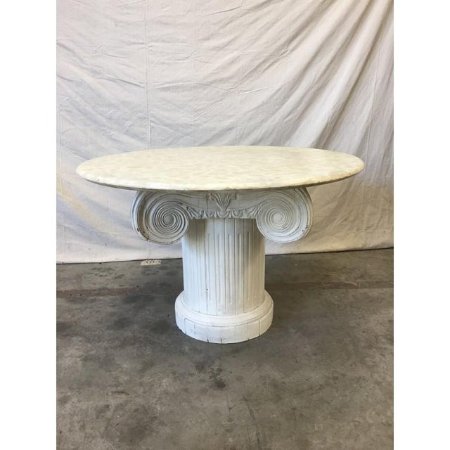 Vintage Marble Top Round Column Base Dining Table - Image 2 of 7