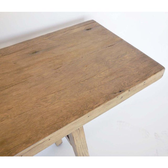 Reclaimed Wood Console with High Stretcher For Sale - Image 4 of 8