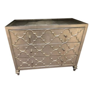 Transitional Stylish 3 Drawer Silver Leaf Chest With Trellis Pattern Molding For Sale
