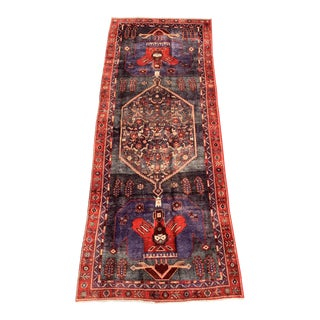 1960s Vintage Kurdish Runner Rug - 4′6″ × 12′4″ For Sale