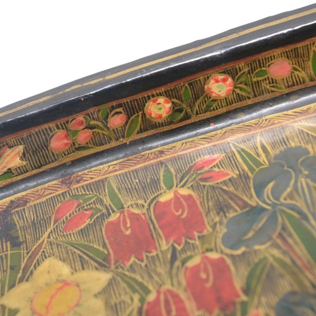 Hand Painted Floral Kashmiri Decorative Tray - Image 3 of 4