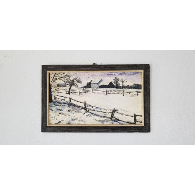 Mid-Century Modern 1970 Vintage Snowscaped Oil Painting , Signed . For Sale - Image 3 of 12