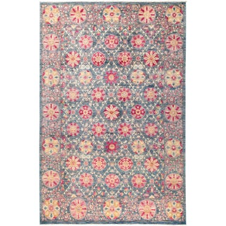 "Suzani Hand Knotted Area Rug - 6'2"" x 9'4"" For Sale"