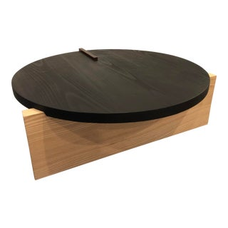 Contemporary Grain Design Round Wood Coffee Table For Sale
