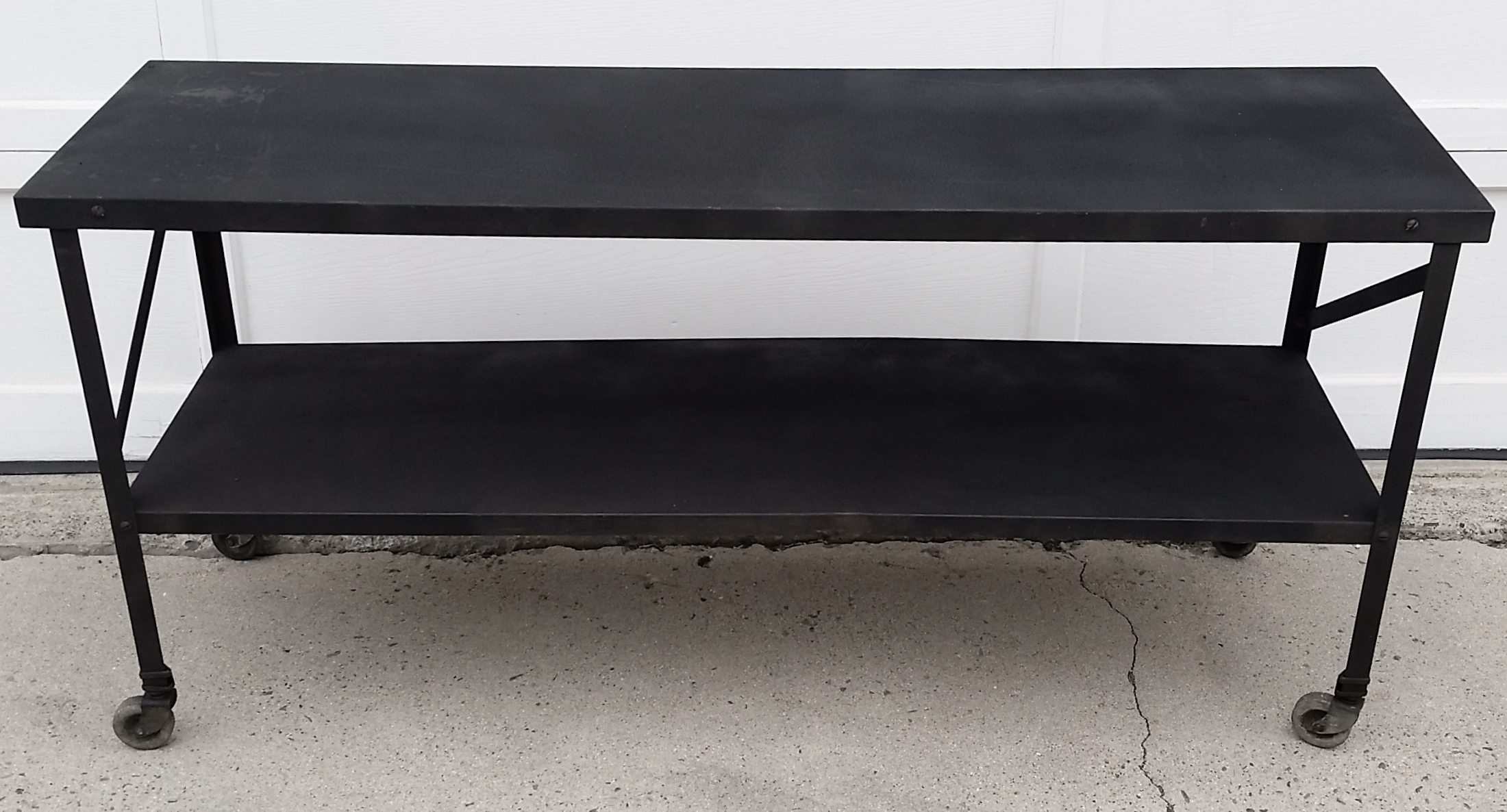 Industrial Metal Console Table On Casters   Image 2 Of 10