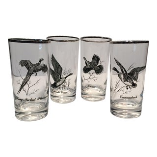 Vintage Silver Rimmed Bird Hunting Glasses- Set of 4 For Sale