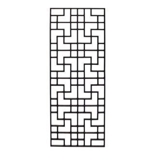 Rectangular Dark Brown Stain Wood Geometric Pattern Wall Panel For Sale