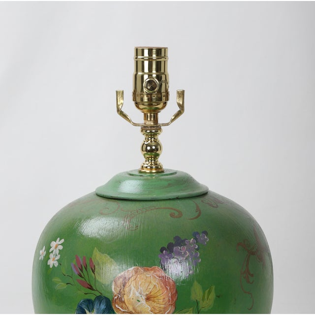 Ceramic 20th Century Art Deco Hand Painted Porcelain Table Lamp For Sale - Image 7 of 9