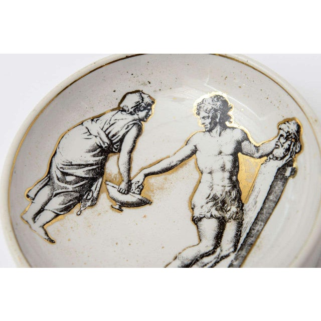 Italian Signed Fornasetti Porcelain/Gold Period Round Bowl/Dish For Sale In Miami - Image 6 of 11