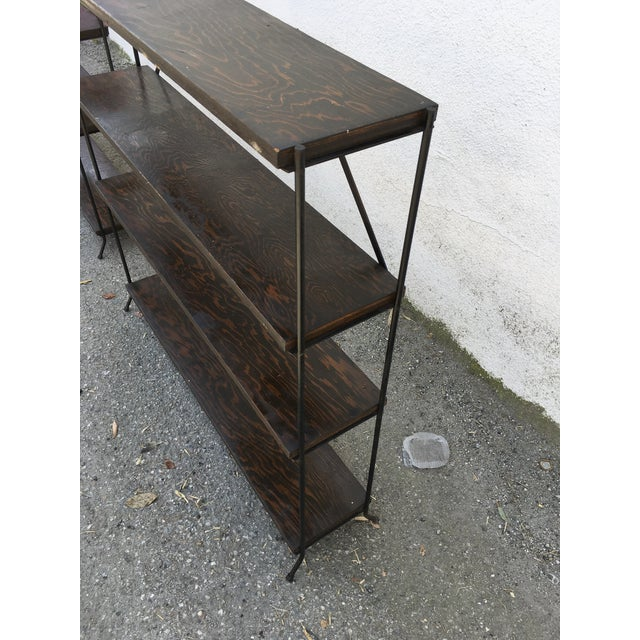 1950s Modern Style Iron & Wood Shelves - a Pair For Sale - Image 4 of 8