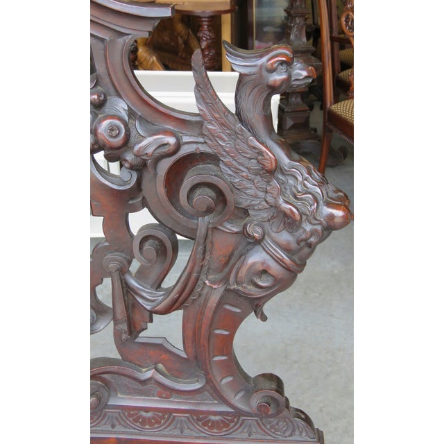 Italian 19th C. Horner Style Figural Carved Bench - Image 5 of 9