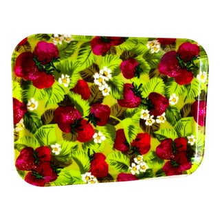 Midcentury Strawberry Pattern Serving Party Tray For Sale