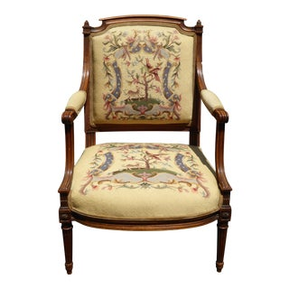 Vintage Carved French Country Floral Needlepoint Arm Chair