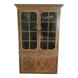 Antique Carved Wood China Cabinet For Sale