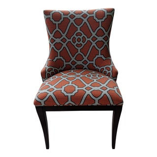 Woodbridge Orange Lattice Upholstered Dining Chairs - a Pair