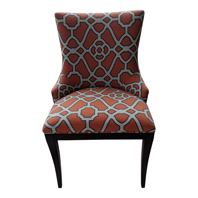 Woodbridge Orange Lattice Upholstered Dining Chairs - a Pair For Sale