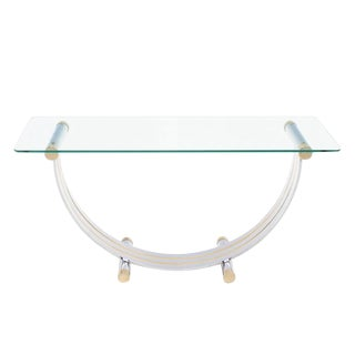 U Shape Brass and Chrome Glass Console Table For Sale