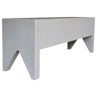 Cast Resin 'Farm' Bench, White Stone Finish by Zachary A. Design For Sale