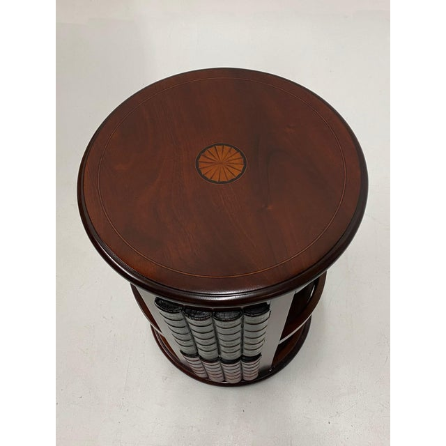 Brown Mahogany and Leather Revolving Book Motife Cabinet For Sale - Image 8 of 9