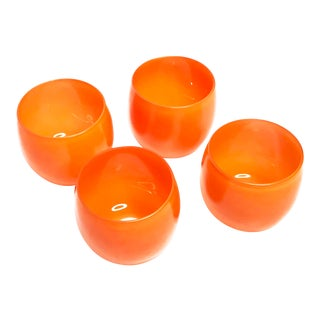 1960s Contemporary Bright Orange Roly Poly Drink Ware Glasses - Set of 4 For Sale