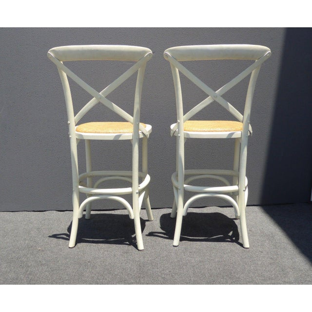 Vintage French Country White Rye Seat Bar Stools - A Pair For Sale In Los Angeles - Image 6 of 11