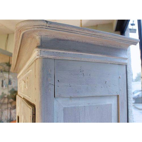 White French Provincial Louis XV Style Grey Painted Armoire For Sale - Image 8 of 10