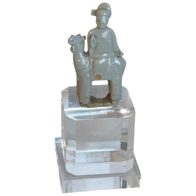Song Dynasty Chinese Celadon Porcelain Horse and Rider on Later Lucite Pedestal For Sale