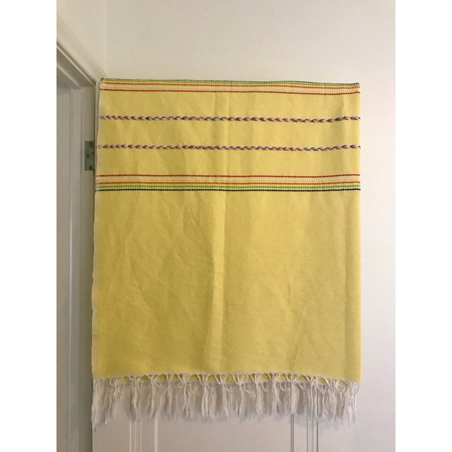 Yellow Throw Blanket With Fringe For Sale - Image 4 of 8