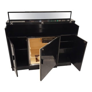 Mid-Century Singer-Penguin Black Lacquered Rosewood Refrigerator of Bar Cabinet For Sale