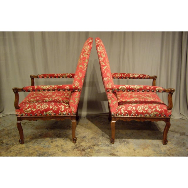 French Provincial French Provincial Regence Armchairs - a Pair For Sale - Image 3 of 7