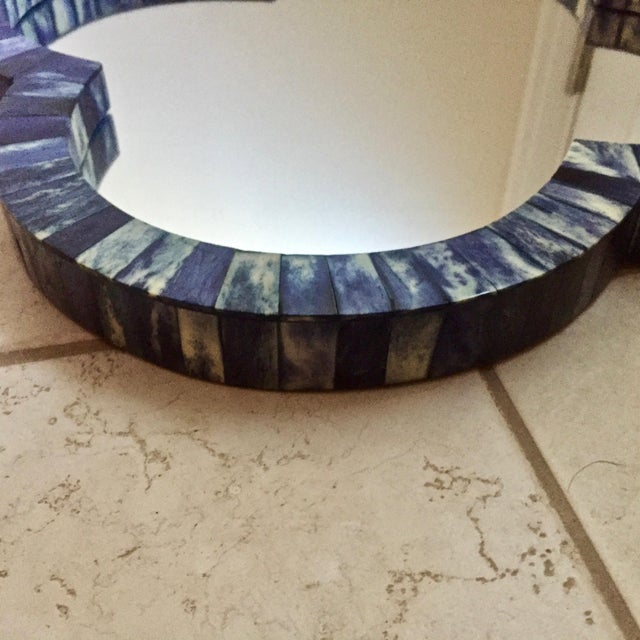 Pair of beautiful blue bone inlay quatrefoil wall mirrors. Ready to hang or can be used as tabletop or ottoman trays....