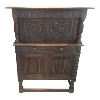 Antique Carved Mediterranean French Oak Cabinet Cupboard For Sale