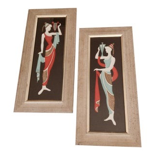 1960s Counter Relief Greco Figures, Framed - a Pair For Sale