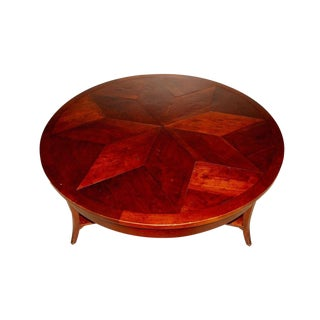 Custom Made Niermann Weeks Parquet Round Coffee Table by Joe Niermann For Sale