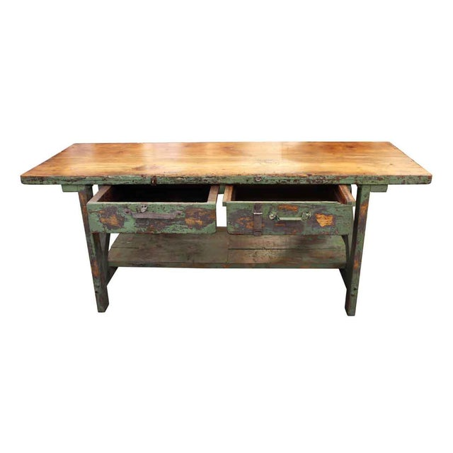 Industrial Mid 20th Century Vintage Large Industrial Green Painted Work Table For Sale - Image 3 of 8